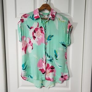 Stylus Floral Print Rolled Cuff Button Front Shirt